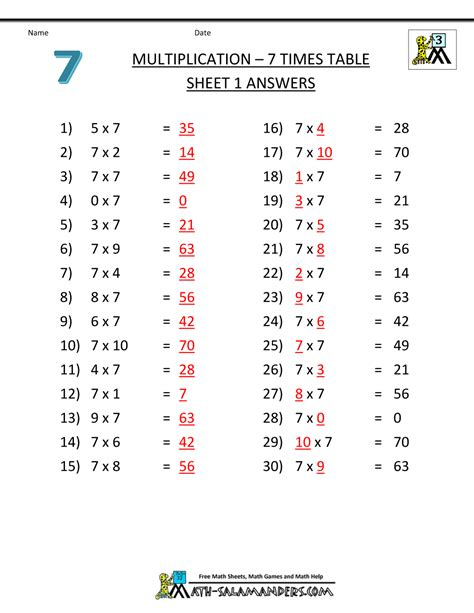 7 Times Table by Multiplication Drill Sheets 3rd Grade