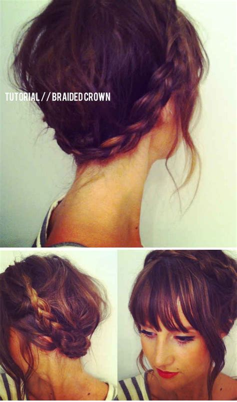 crown braid short hair hairstyles 12 pretty braided hairstyles for short hair pretty designs