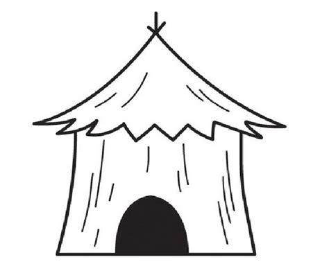 coloring page straw house mud hut outline clipart best