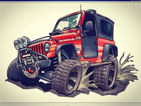 cartoon jeep jeep wrangler cartoon commission by dazzlarock