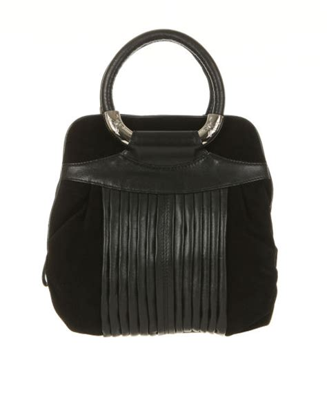 Ri2k Deneuve Leather Grab Bag by Ri2k Suede And Leather Pleat Front Grab Bag