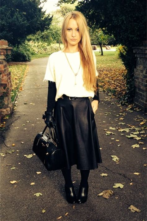 black leather river island boots black h m tights