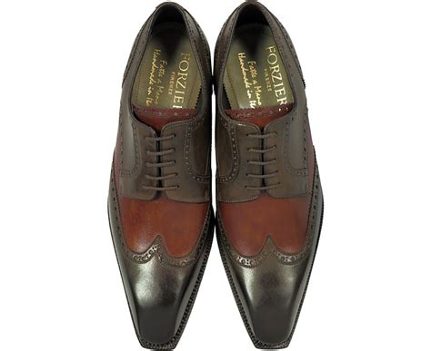 Handcrafted Shoes - forzieri two tone italian handcrafted leather wingtip