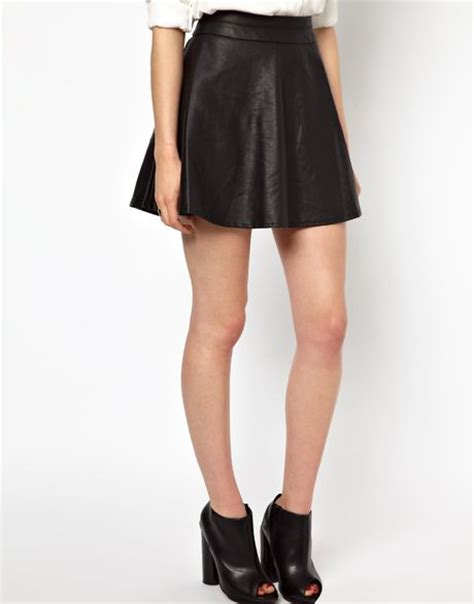 antipodium barneys originals leather look skater skirt in