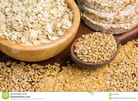 cereals with whole grains healthy grains cereals and whole wheat bread stock image