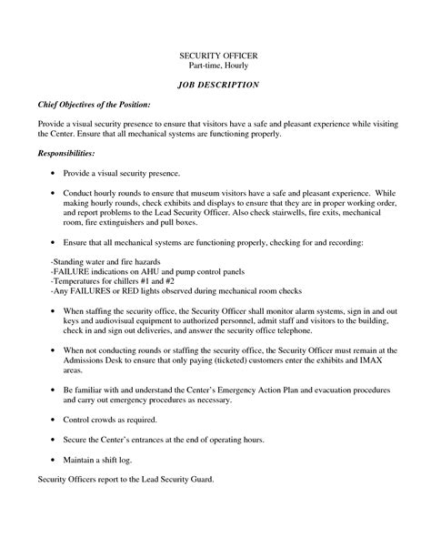security resume objective sle resume for security officer sle resume
