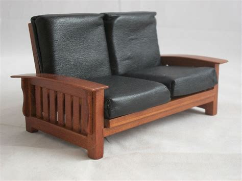 mini settee mission craftsman sofa settee t6236 miniature dollhouse