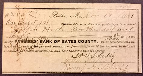 farmers bank of lincoln mo csa general joseph shelby signed check