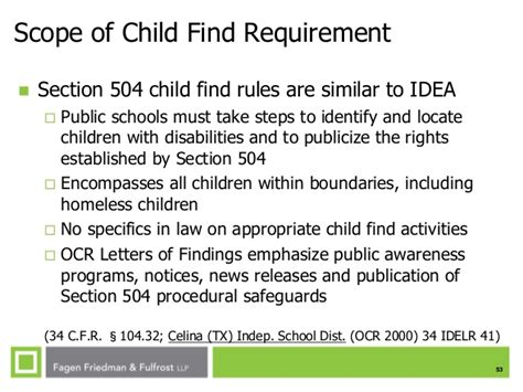 section 504 procedural safeguards ses fall 2014 child find under the microscope