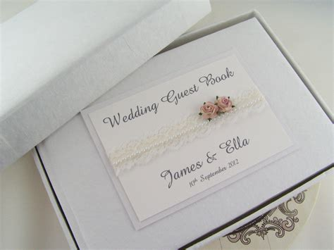 Wedding Guestbook 6 personalised wedding guest book vintage style lace