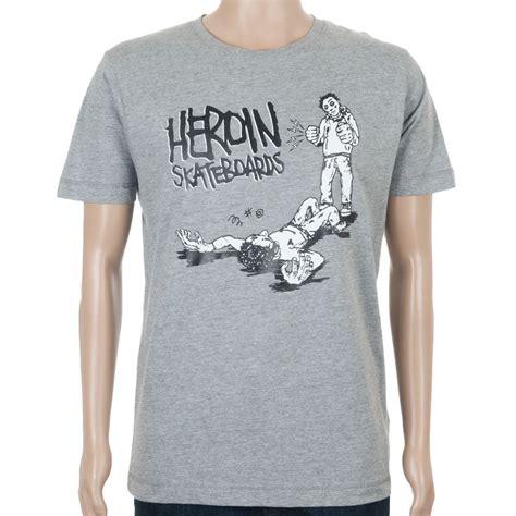 Tshirt K O heroin skateboards t shirt k o grey at skate pharm