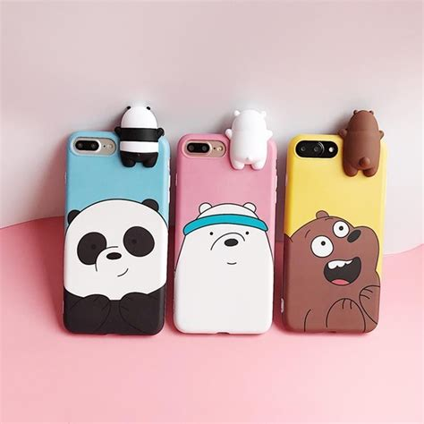 Iphone 6 6s Disney Korean 360 Soft Silicone Back Cover 3d animals we bare bears soft silicone