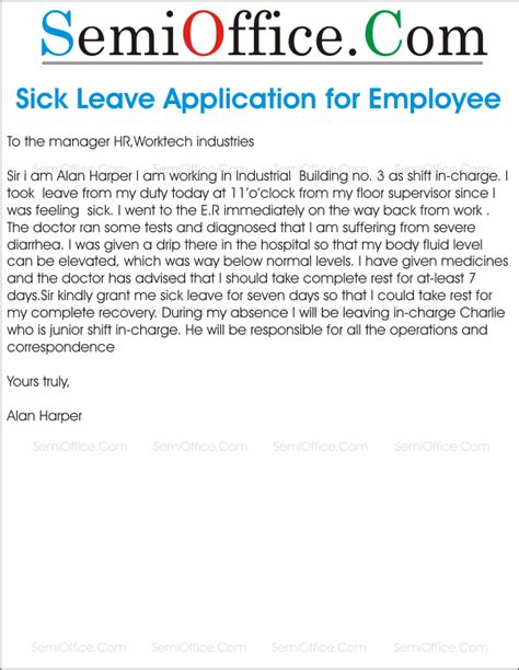 School Application Letter For Sick Leave Sick Leave Application Letter Format For Office
