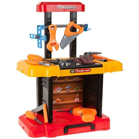 kids toy work bench childrens 40pc foldaway work shop tool bench play set kids