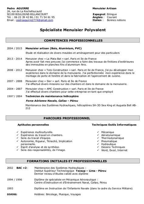 Lettre De Motivation De Menuisier Modele Cv Menuisier Cv Anonyme