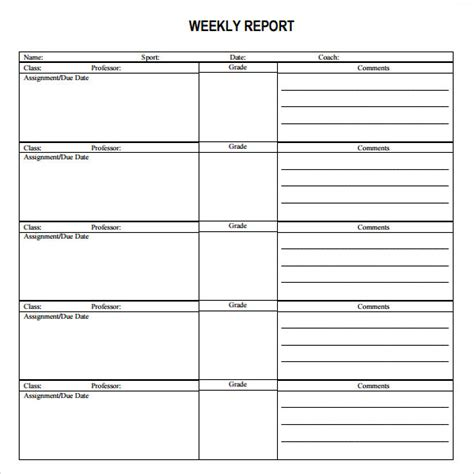 weekly report template sle weekly report template 8 free documents in pdf