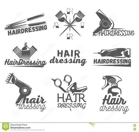 hairdresser retro design elements vector vector set of hair salon labels in vintage style beauty