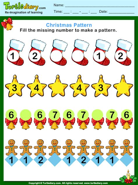 christmas pattern game christmas pattern fill missing numbers worksheet turtle