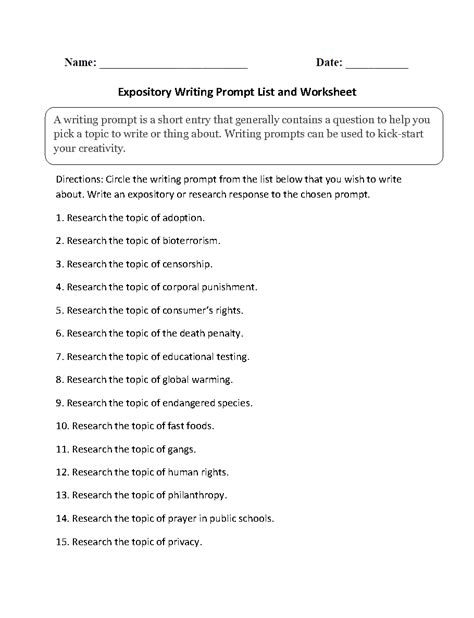 Informative Essay Writing Prompts by Writing Prompts Worksheets Informative And Expository Writing Prompts Worksheets