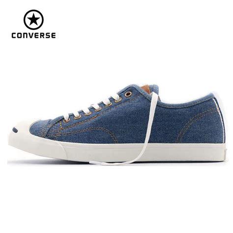 Converse Classic Low Biru Denim Unisex 1 100 original converse denim smiling logo canvas shoes sneakers low classic