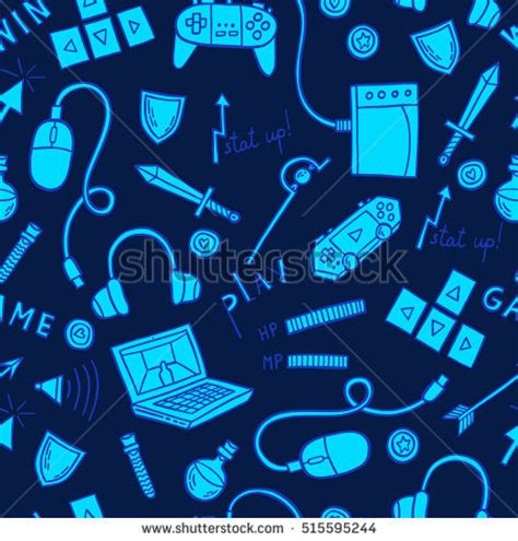 design pattern for video games gaming web technology seamless pattern background stock