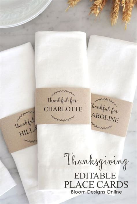we are thankful for place card template editable thanksgiving place cards thanksgiving napkin