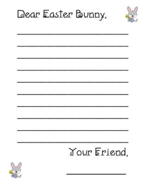 letter to the easter bunny template a letter paper and easter bunny on