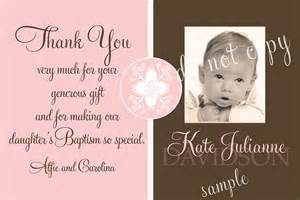 baptism photo thank you card pink brown by starwedd