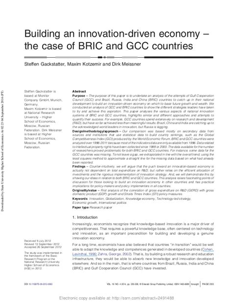 gcc for design and build contract building an innovation driven economy the case of bric