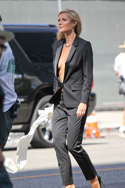 Gwyneth Paltrow goes shirtless under suit on Hugo Boss set