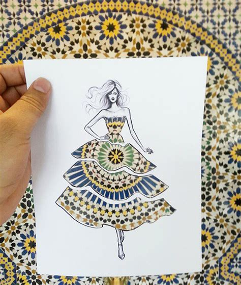 How To Make Paper Cutouts - illustrator completes his cut out dress sketches with