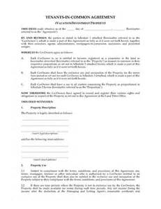 tenants in common agreement template australia tenants in common agreement for investment
