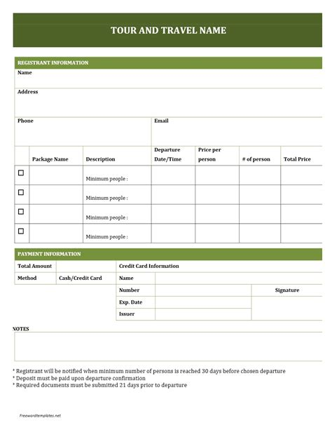 tour template tour and travel booking form