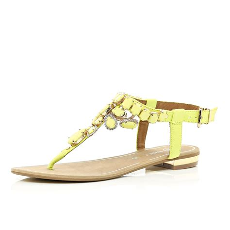 island sandals river island yellow gem embellished t bar sandals in