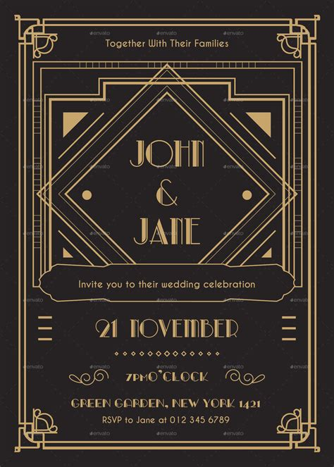 art deco wedding invitation by infinite78910 graphicriver