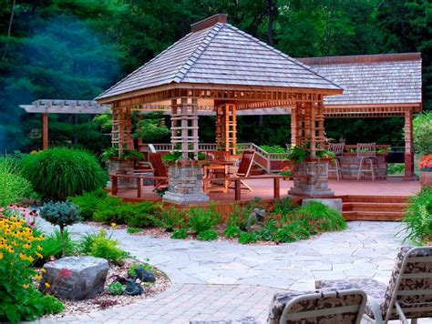 backyard oasis  covered cedar deck hgtv