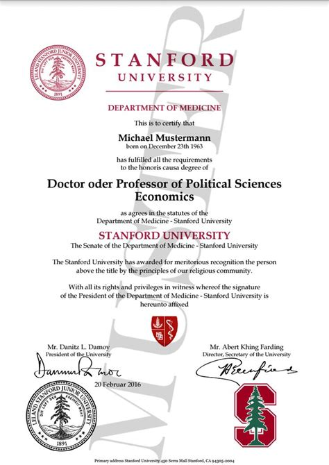 Gets Honorary Mba Degree by Doktortitel Kaufen Stanford Berufszertifikate