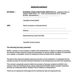 Contract Agreement Templates by Investor Agreement Template Beepmunk