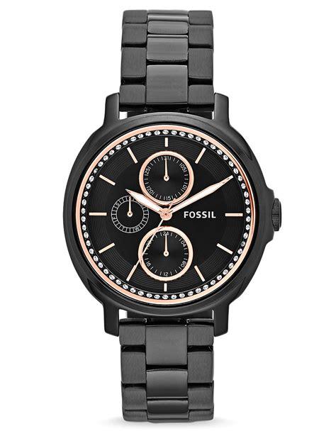 fossil s chelsey black tone stainless steel bracelet