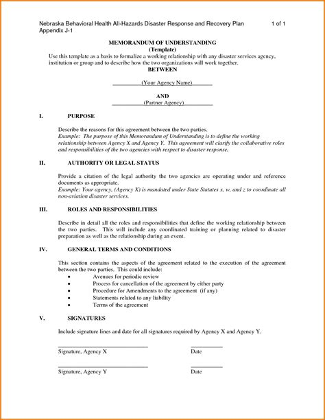 template of mou memorandum of understanding templatereference letters