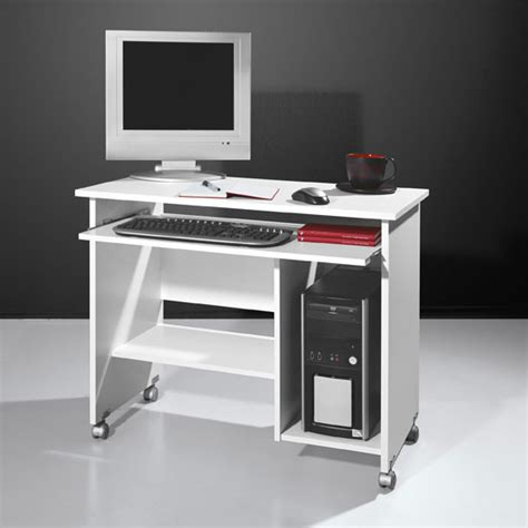 White Small Computer Desk With Hutch For Small Spaces Computer Desk In White