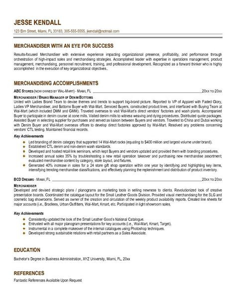 Resume Sles For Retail Merchandiser Exle Merchandiser Resume Free Sle