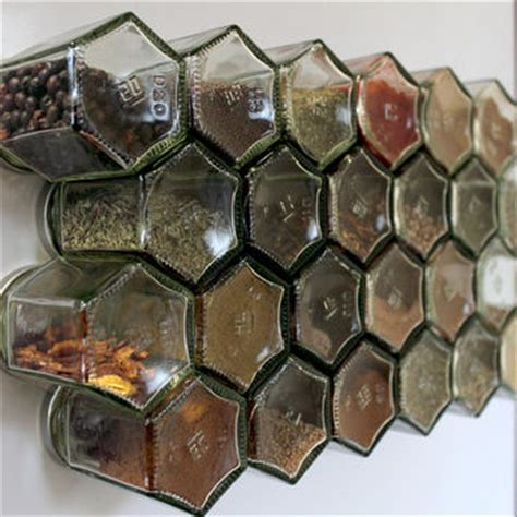 Empty Spice Rack And Jars Honeycomb Magnetic Glass Jar Storage Set From Xerces