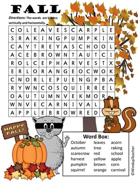 printable word search autumn fall word search easy by windupteacher teaching