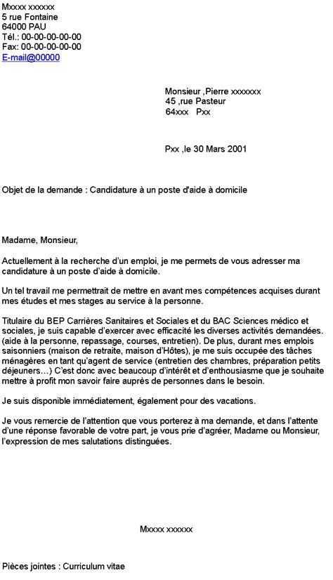 Exemple De Lettre De Demande De Vacation Candidature 224 Un Poste D Aide 224 Domicile