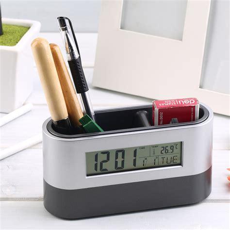 Promo Color Change Digital Desk Clock With Pen Holder Jk 286 multifunctional home office digital snooze alarm clock pen