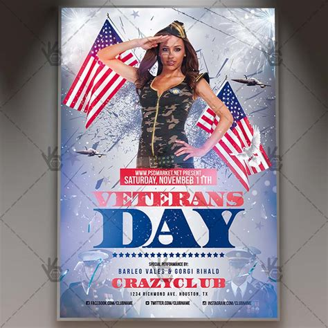 Veterans Day American Flyer Psd Template Psdmarket Happy Veterans Day Template