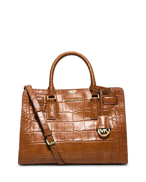 light brown mk purse lyst michael michael kors dillon croc embossed satchel
