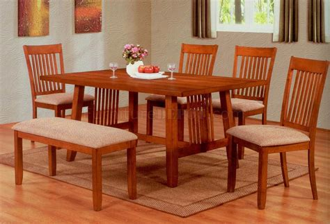 casual dining sets with bench oak finish modern casual dining table w optional chairs bench