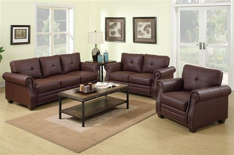 Poundex Baron F7799 Brown Leather Sofa And Loveseat Set Leather Sofas Sets